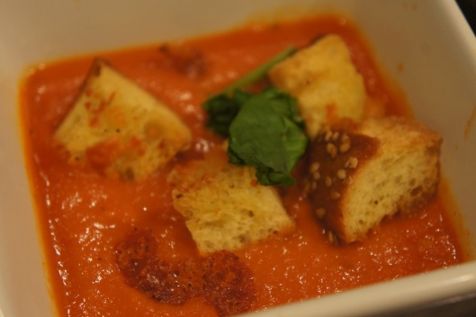 Roasted Tomato and Red Pepper Soup w/ Asiago Croutons