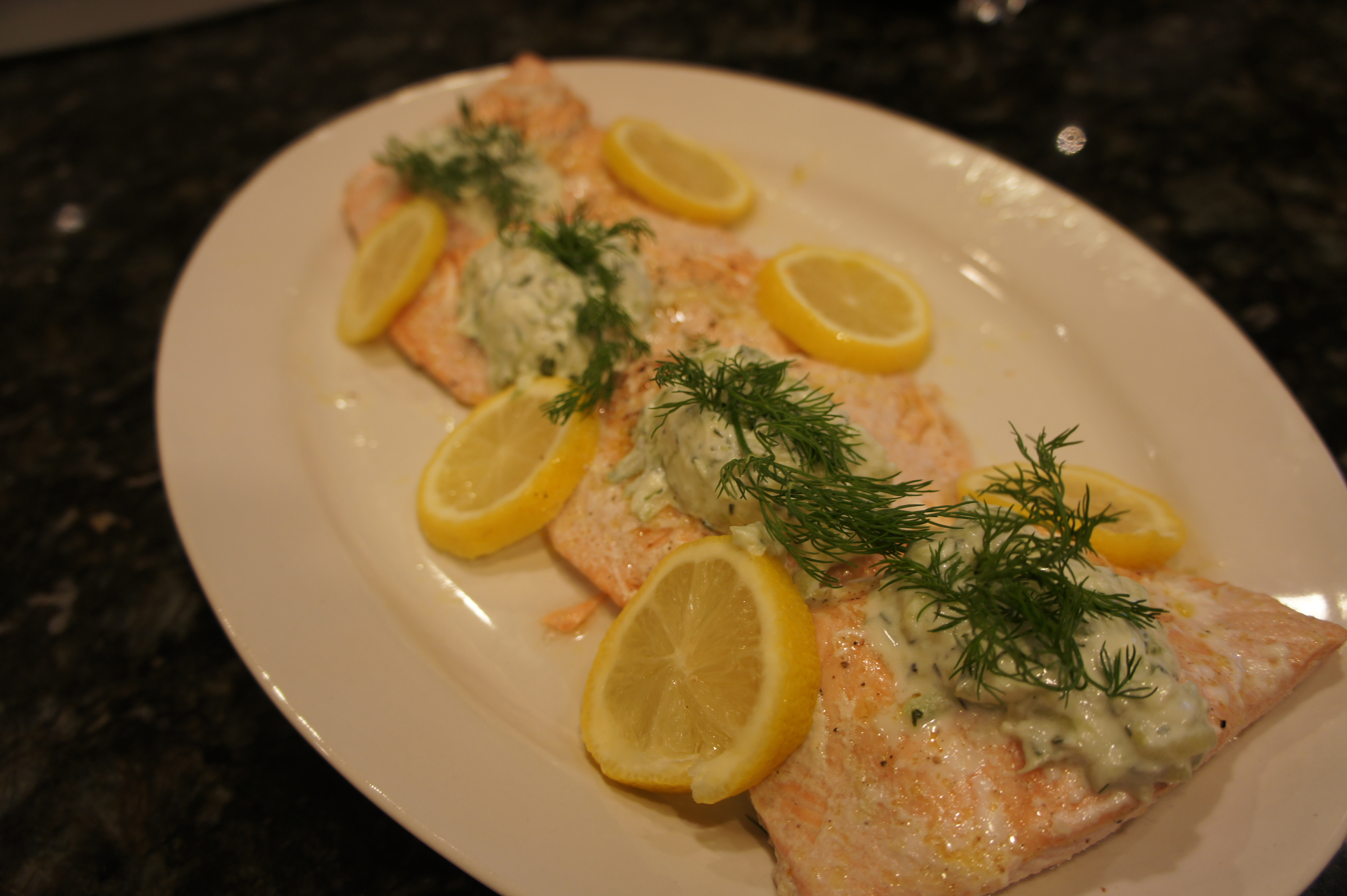 Oven poached salmon with tzatziki sauce bits and bytes for Poaching fish in wine