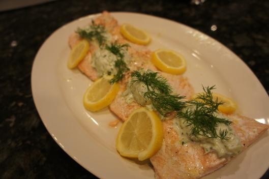 Poached salmon with tzatziki sauce
