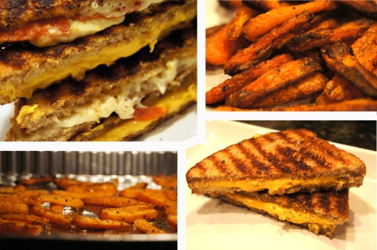 grilled cheese and Baked carrot fries
