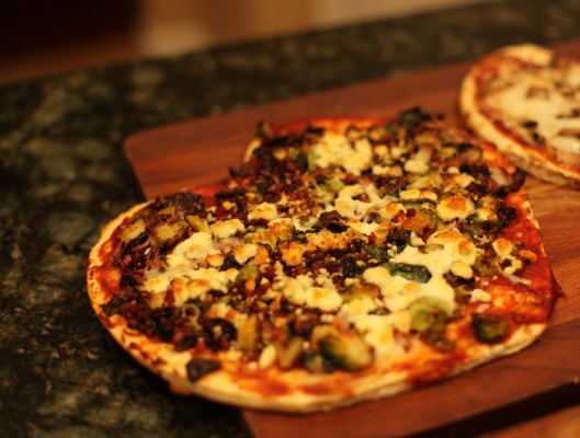 Brussel Sprout Pizza with Pancetta and Blue Cheese
