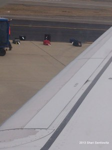 Bags on tarmac United FLight 1294