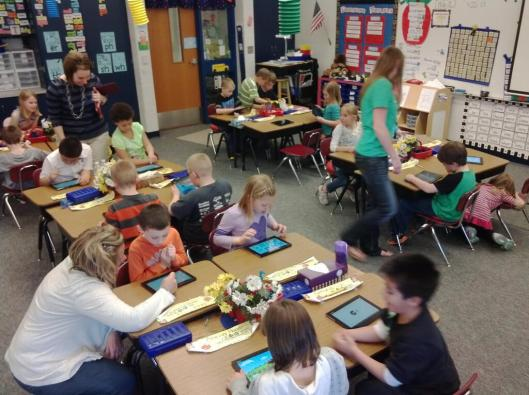 Unboxing Day. First Graders at Bentheim Elementary get hands on #sonyedu Xperia S Tablets.