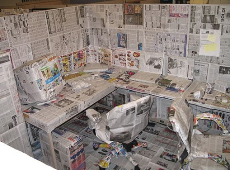 Newspaper Cubicle Prank