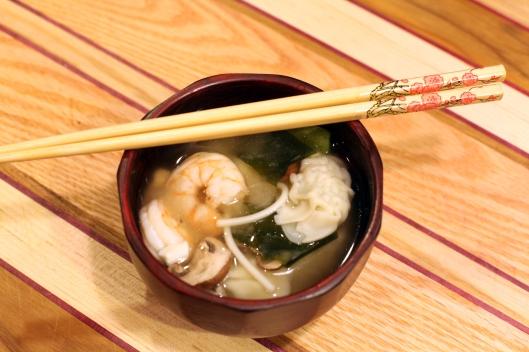 miso shrimp dumpling soup
