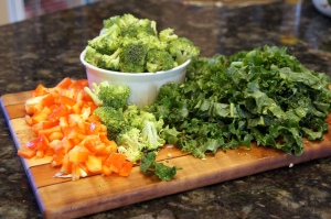 Kale Broccoli and Red Pepper
